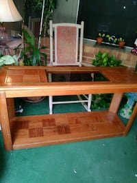brown wooden framed glass top table Grand Prairie, 75050