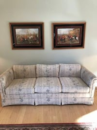 brown wooden framed gray fabric padded 3-seat sofa 257 mi
