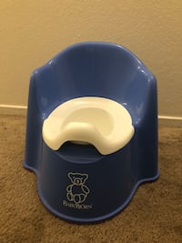 Baby's blue and white baby bjorn potty trainer