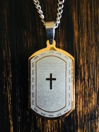 Men's Our Father Prayer Two Tone Stainless Steel Dog Tag Necklace With James Avery Chain