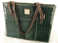 DOONEY & BOURKE Large Leather Bag in Holiday Green and Red Las Vegas