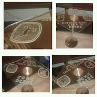 Etched glass table