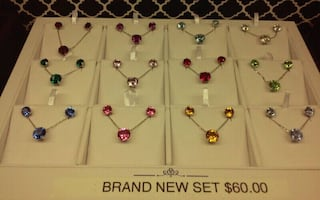 Silver Birthstone Pendant & earring Sets HALF PRICE, was $60, now $30