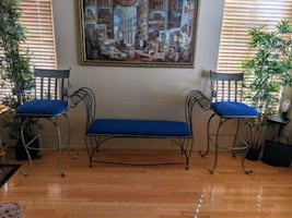 Blue metal bench and 2 high chairs