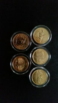 1999 gold plated state quarters (five) Pittsburgh, 15227