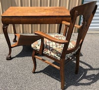 Antique Tiger Oak Mission Library/Desk Table W/Chair Wilmington