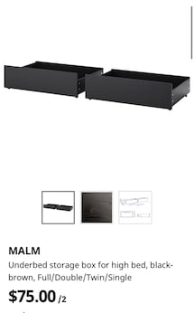 Ikea Malm Black Brown Underbed Storage Drawers.