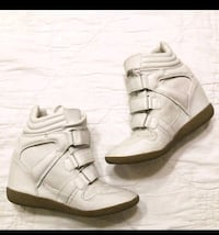 STEVE MADDEN HILIGHT LEATHER WEDGED FASHION SNEAKER SIZE 8.5