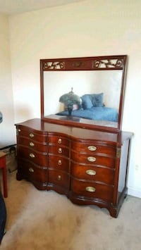 solid cherry oak wood dresser with mirror  antique Sparta Township, 07871