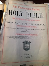 1890 Family Holy Bible with leather cover and brass latches Parkville