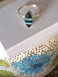 Very Feminine Delicate Sterling Silver Ring with Turquoise Stripes  Plano