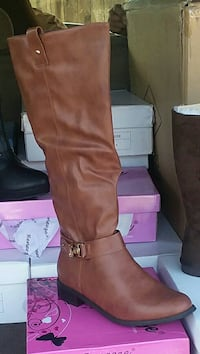 pair of brown leather knee-high boots Sanger, 93657