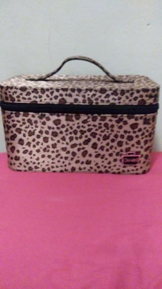 brown and black leopard makeup box
