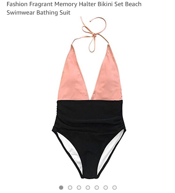 Pink and Black One-piece Bathing Suit