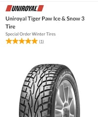 Set of 4 Uniroyale Tigerpaw snow & ice Set of 4 winter tires. 15 inch