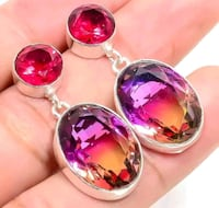 Sterling Silver Elegant Tourmaline Earrings.   *WILL SHIP* Albuquerque, 87114