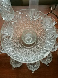 Crystal punch bowl set 9 piece