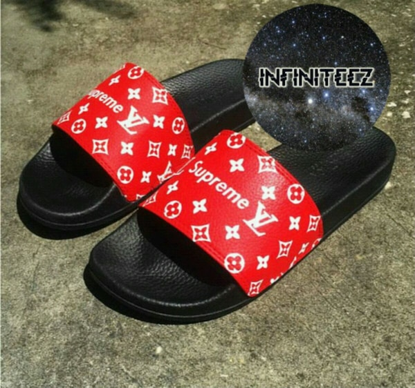 Used Custom Hand Painted Lv Supreme Slides 3 Different For Sale In
