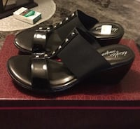Pair of black dexflex  open-toe studded wedge sandals...NEVER WORN...retail price $36.99 ...firm ... no holds London, N6J 2V9