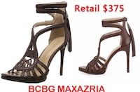 BCBG Esh High-Heel Leather Macrame Sandals Heels 7.5 8 Lanham