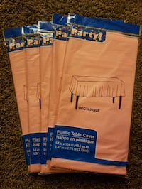 """5 Light Pink Plastic Table Covers - 54"""" x 108"""""""