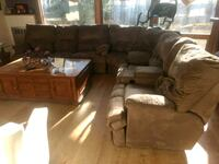 brown leather recliner sofa set White Haven, 18661