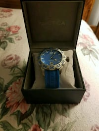 round silver analog watch with blue leather strap in box Sharon, 16146