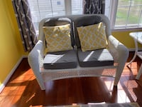 sun roomwiker sofa set 2 seater each with Rug and coffee table