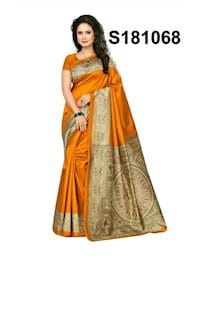 women's orange and brown sari dress