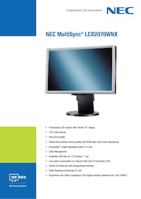 "Nec MultiSync LCD2070WNX 20"" PC display"