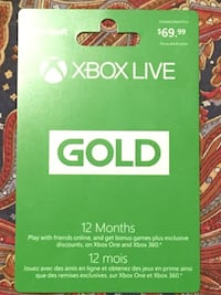 Xbox Online Card (Store activated, unused) Oakville, L6L 5N8