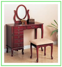 Traditional Vanity and Stool with Fabric Seat Irving