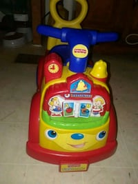 yellow, blue, and red Fisher-Price ride-on toy