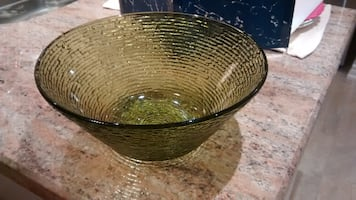 Vintage avocado green glass bowl from the 1970's