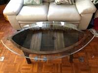 Coffee Table Shaped Like Boat With Beveled Glass Top