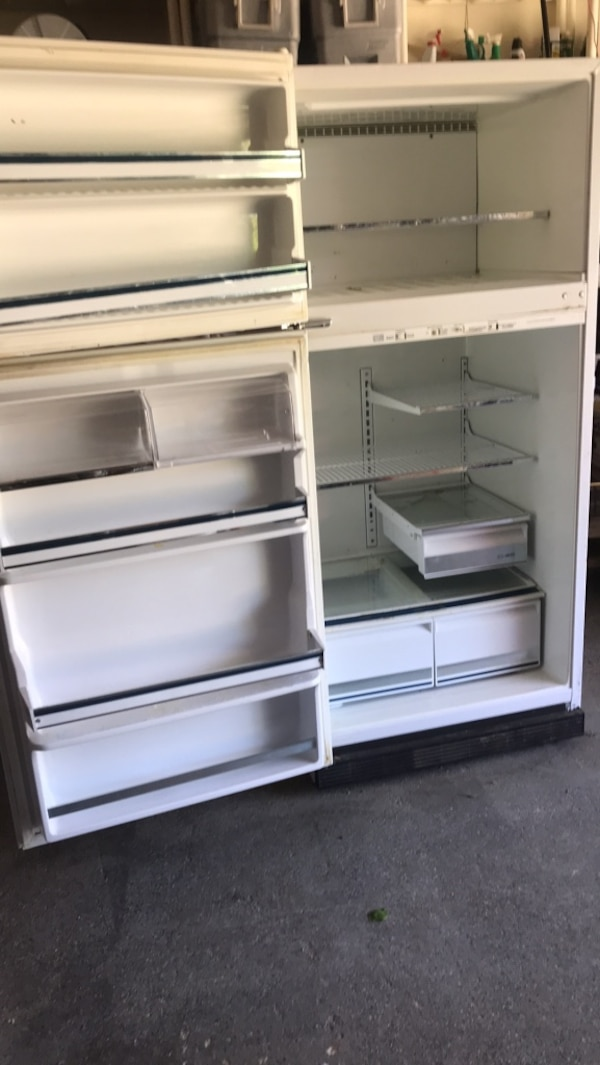 Fridge, Great for the garage.    * Works great stays very cold, Cool beer stickers included.! I've tried for a long time to sell this it's a perfect working garage fridge I got to get it out of the garage immediately it's free works great 0