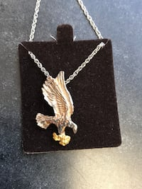 Sterling silver eagle carrying gold nugget pendant Oceanside, 92054