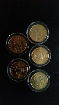 2002 gold plated state quarters  (five) Pittsburgh, 15227
