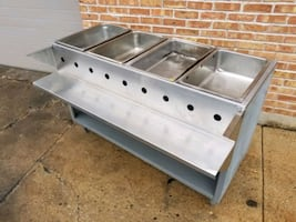 Natural Gas Steam Table 4 Well 4 Compartment Restaurant Hot Food