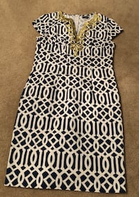 Mud Pie Dress Short Sleeve Blue and White with Gold trim  null