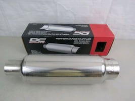 "DC Sports Stainless Steel Exhaust Muffler 2.5"" Inlet 3.5"" Outlet"