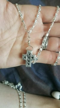 silver cross pendant with chain link necklace Atwater, 95301