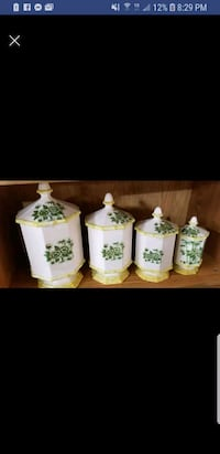 four white-and-green ceramic canisters Estill Springs, 37330