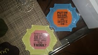 two green and blue quote print decorative little plates 9 km