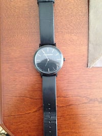 Foxleigh black leather band watch