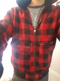 red and black checked zip-up hoodie Vancouver, V5S 3N4