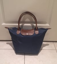 Blue and brown leather tote bag