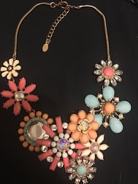 gold-colored necklace with assorted-color gemstone encrusted flowers pendant Peterborough, K9H 3E4