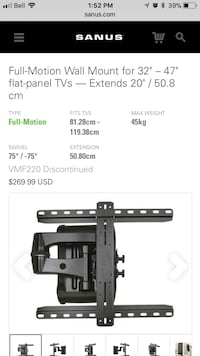 black Full-motion wall mount tv