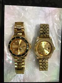 two round gold analog watches with link bracelets Bellflower, 90706